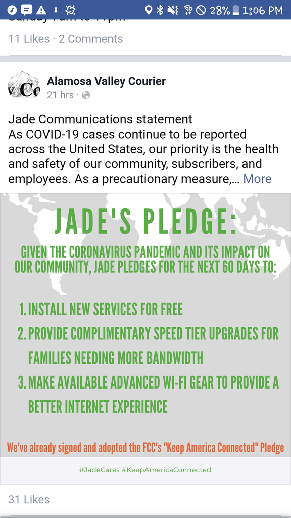 Jade Communications is providing internet access support for families