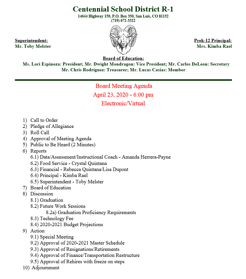 April 2020 BOE Meeting Agenda
