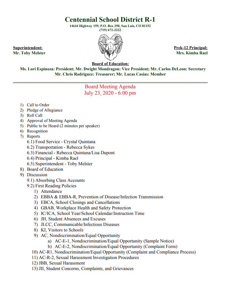 Board Meeting Agenda I