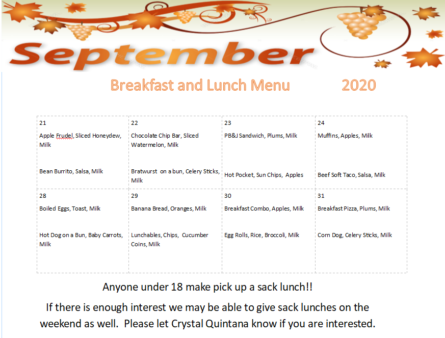 September Breakfast and Lunch Menu 2020